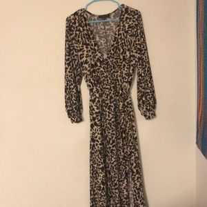 Floor length Cheetah Print Dress